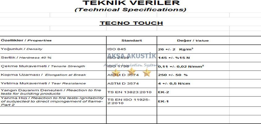 tekno touch sünger teknik verileri